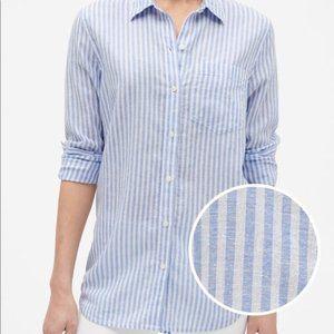 100% Linen Boyfriend-fit Striped Button Down Top